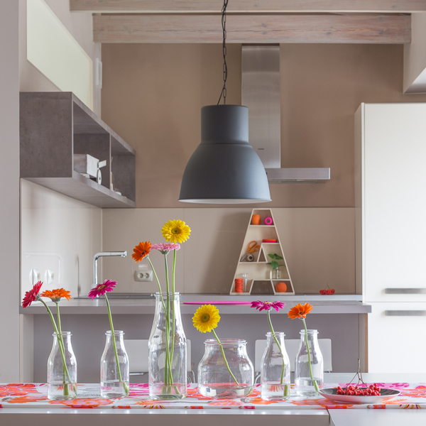 Indoor Plant Decor Kitchen Table with Colorful Pink Orange Yellow Flowers in Glass Vases
