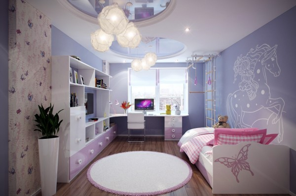 Shades of purple and pink have been a big winner in girls rooms for years, and there are no signs that this is about to change anytime soon. Follow the girly fashion full-on and team sherbet shades with beautiful butterflies and majestic horses.