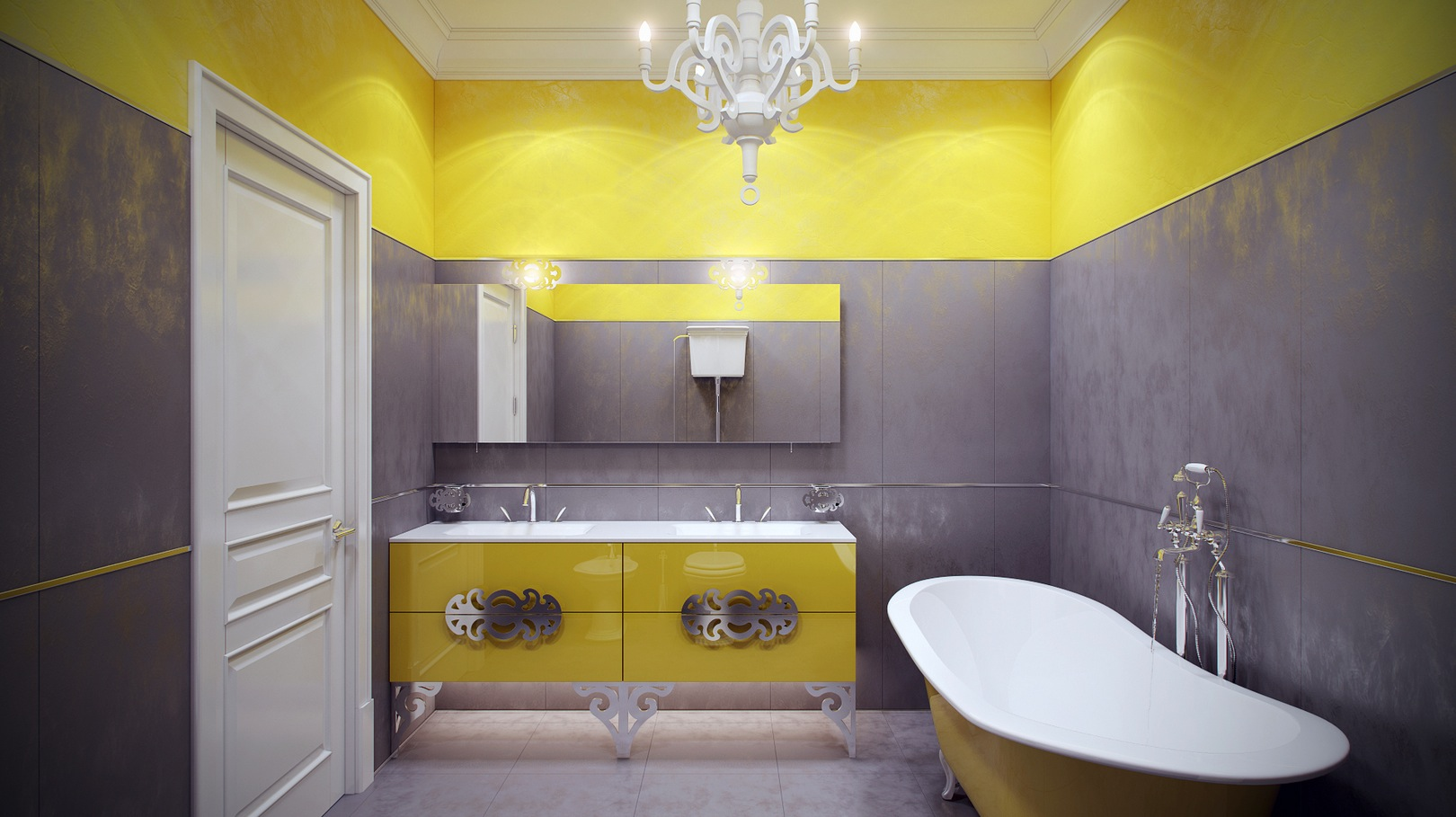 yellow gray bathroom | interior design ideas.