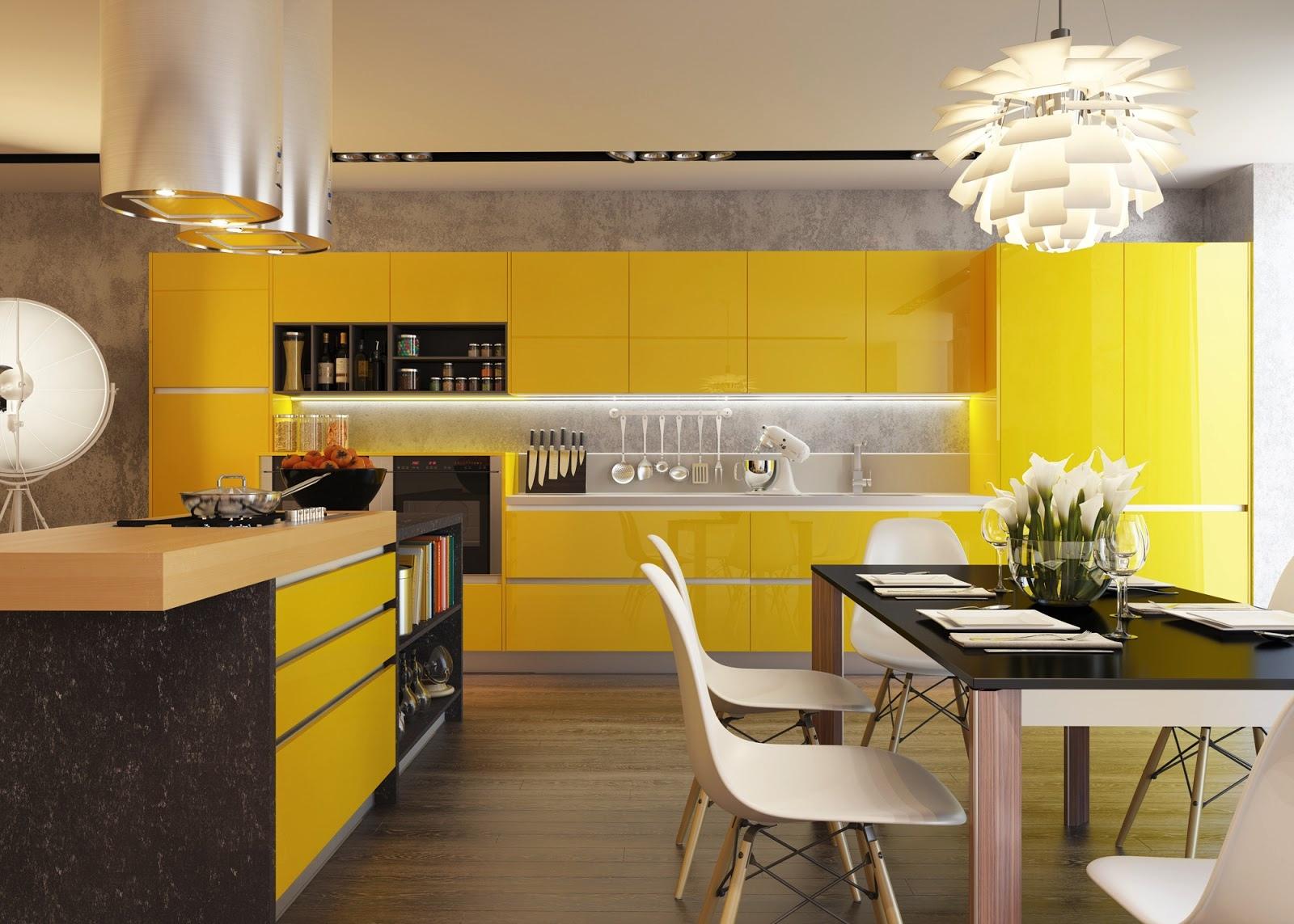 Yellow kitchen units