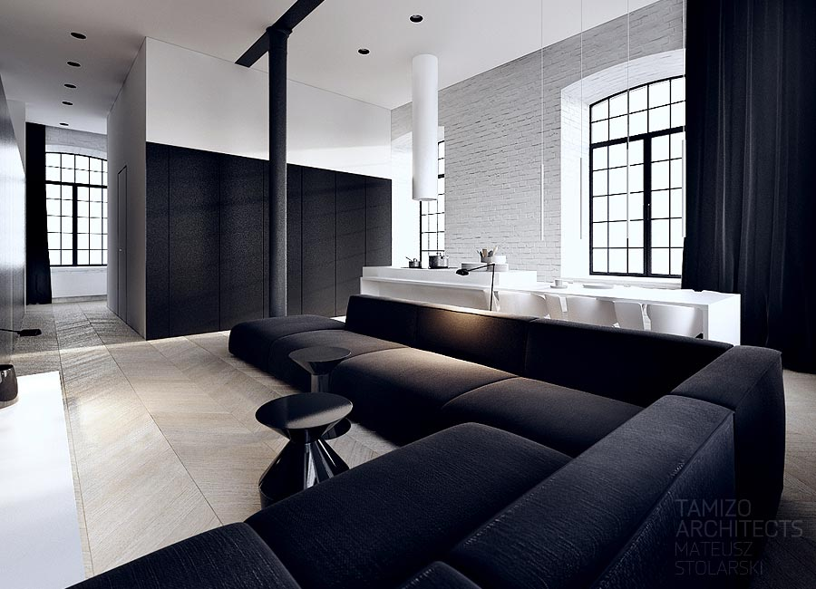 modern interior design living room black and white colours to match grey sofa in