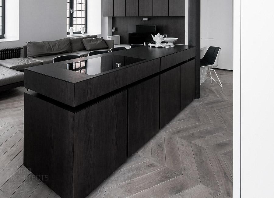 Leather sofa black kitchen island  Interior Design Ideas