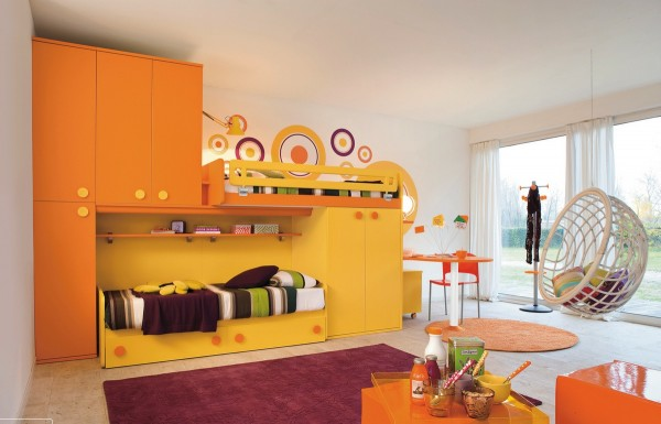 Yellow orange kids room