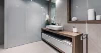Gray gloss bathroom cabinets | Interior Design Ideas.