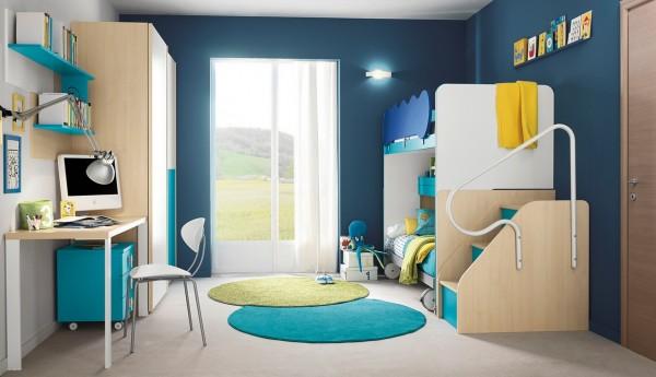 Blue white bedroom design