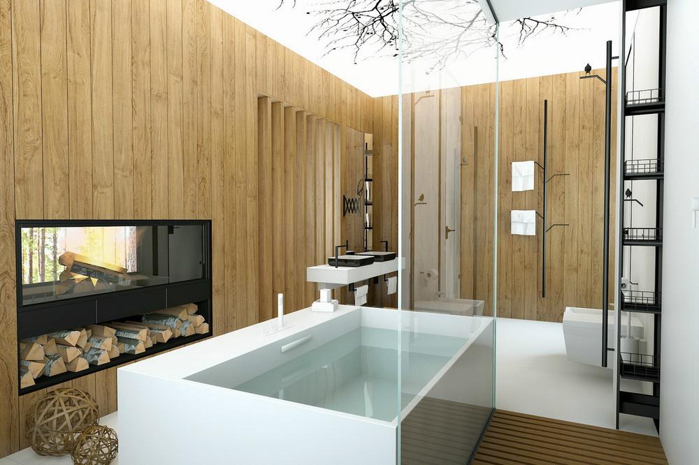 Chic bathroom fireplace  Interior Design Ideas