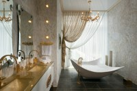 Gold white bathroom vanity | Interior Design Ideas.