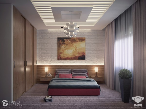 This bedroom has a much softer scheme, where light filters through a shutter design in the center of the ceiling.