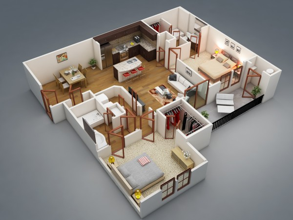A two bedroom with a bit of privacy? Yes, it is indeed possible! The placement of the two bedrooms in this apartment plan ensures that you and your guests feel comfortable in your own spaces. Each bedroom offers ample closet space and adjoining bathrooms, with the shared common areas of the kitchen, dining area, laundry room, and living room in the center.