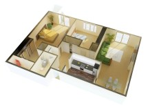 2 Bedroom House Plans 3D