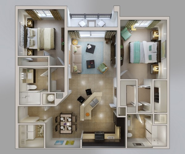 Measuring in at 1,126 square feet, this rich two bedroom apartment offers its own laundry room, ensuite bathrooms, a master bedroom with dual closets (including built-ins), a charming patio, large kitchen with island and breakfast bar, dining area, and foyer space.