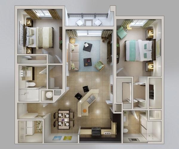 2 Bedroom Apartment Floor Plans Designs