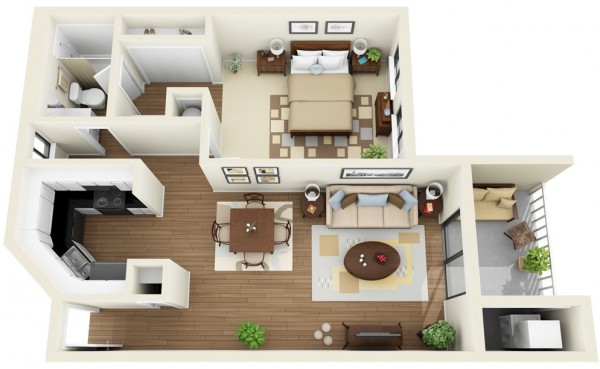 This contemporary one bedroom apartment has a small balcony, functional u-shaped kitchen, and an en-suite bathroom accessible through both the common living area and the bedroom.