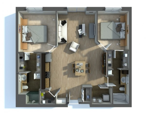 This two bedroom apartment is all about drama, as shown by its bold design features, luxurious textures, and open floor plan. Natural light spills across the hardwoods and casts shadows over a large living area linking together two bedrooms, two bathrooms, and walk-in closets.