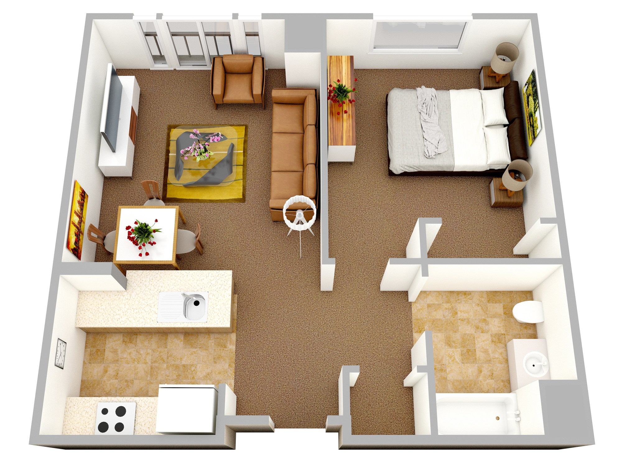 hight resolution of ideal as a first apartment this modern one bedroom offers a comfortable kitchen and bathroom