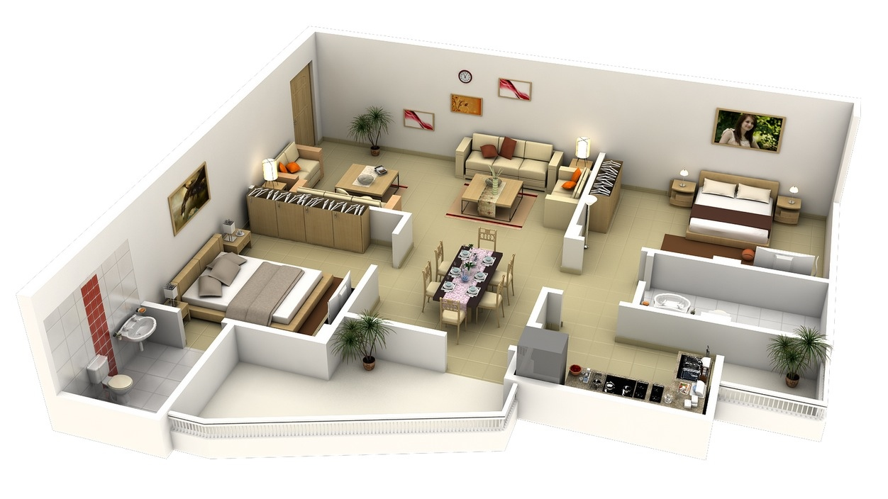 2 Bedroom ApartmentHouse Plans