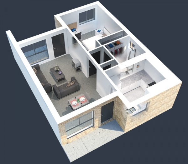 Student housing for a single just got better with ample closet space, comfortable living areas, and a modern kitchen. Totally unlike the dorm horror stories you've heard!