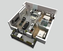 2 Bedroom House Floor Plans 3D