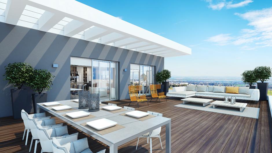 Modern Penthouse Outdoor Space  Interior Design Ideas