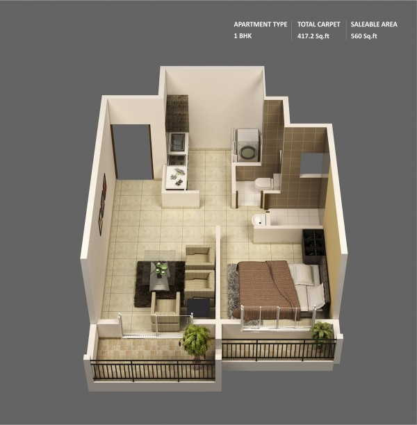With a small footprint, this Mumbai wonder showcases two outdoor spaces, a simple and straightforward layout, modern amenities, and over 500 square feet of living space.