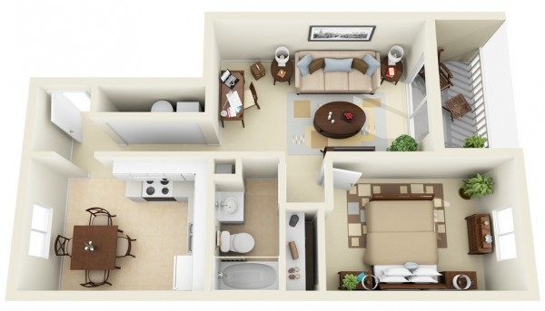 This unit is all about making the most of a narrow lot with each room cleverly laid out so that there's a workspace, comfortable bedroom, combination kitchen and dining room, living room, bahtroom, large closet, and small balcony.