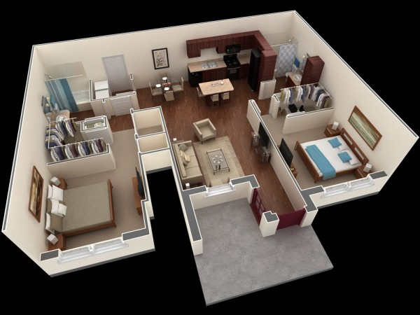 In another visualization from the same complex, you'll see ideal living for two with even more privacy in this layout. Bedrooms are positioned at opposite ends of the apartment with common living areas shared in the center.