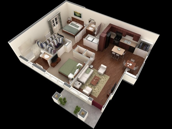 When you think of the perfect apartment for young professionals or roommates, this plan may be exactly what you imagined. Rich hardwoods in the floor and cabinets, easily accessible private bathrooms, a nicely sized kitchen with island, and ample closet space make this apartment a paradise for those seeking a comfortable space for two.