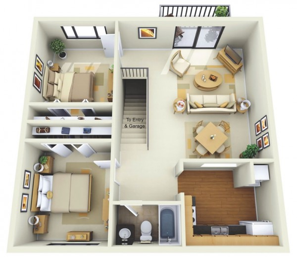 This two bedroom floor plan is simple, streamlined and convenient, as it offers easy access to a shared garage and entryway.