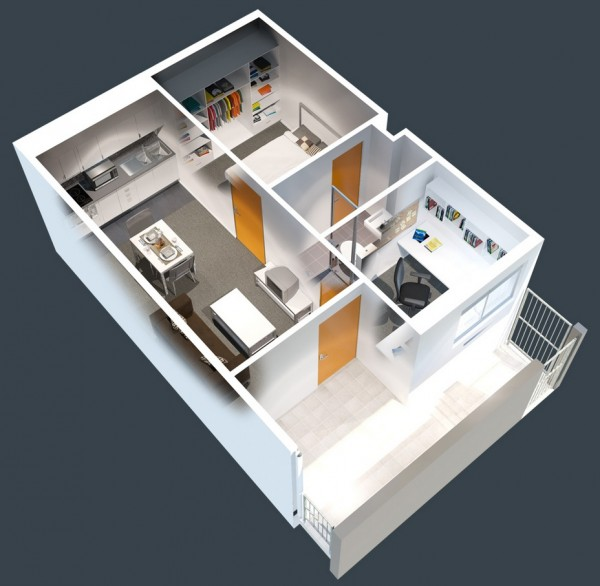 Clean and modern, this one bedroom creation is all about designing a space that's comfortable for work and sleep. The bedroom is cozy and the workspace impressive, with a large L-shaped desk and easy access to the bathroom and balcony.