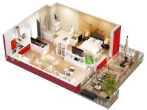 3D Apartment Floor Plan Design