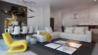 yellow accent living room   Interior Design Ideas.