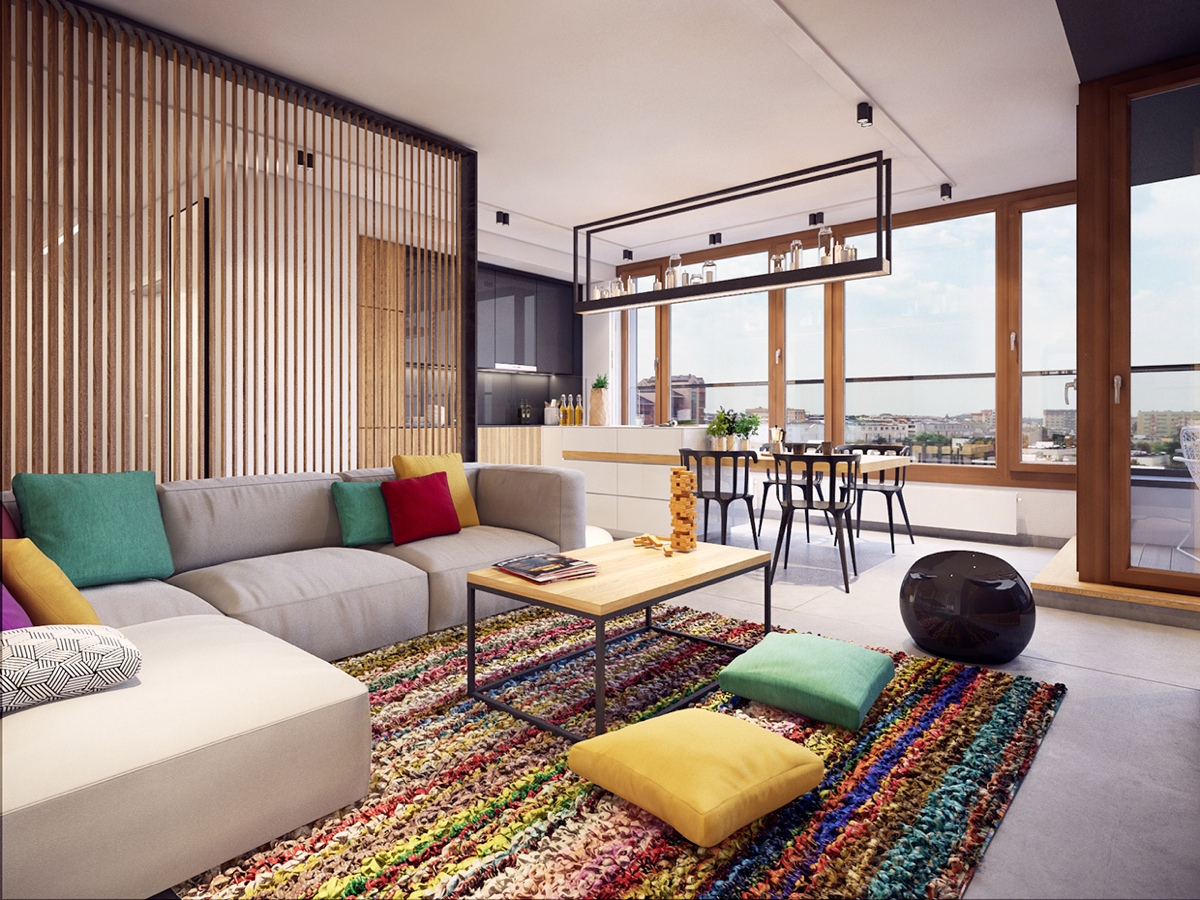 Colorful Modern Apartment Design Uses Space To Beautiful