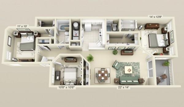 cool 3 bedroom 3d plans