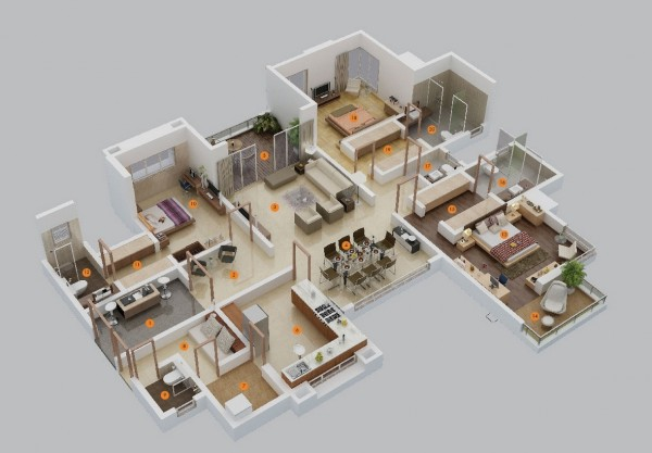 large 3 bedroom floor plans