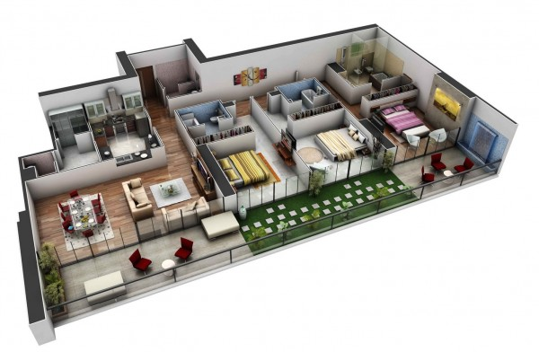 In a spacious design that would be perfect for roommates, this three bedroom house includes private baths for each room and a separate guest bath in the front hall. Outdoor lounging areas complete this modern, luxurious layout.