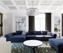 Royal Blue Living Room with Sofa