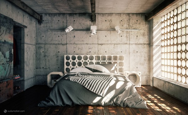 The cement walls and cool window treatment in this industrial bedroom make it feel like a modern bunker.