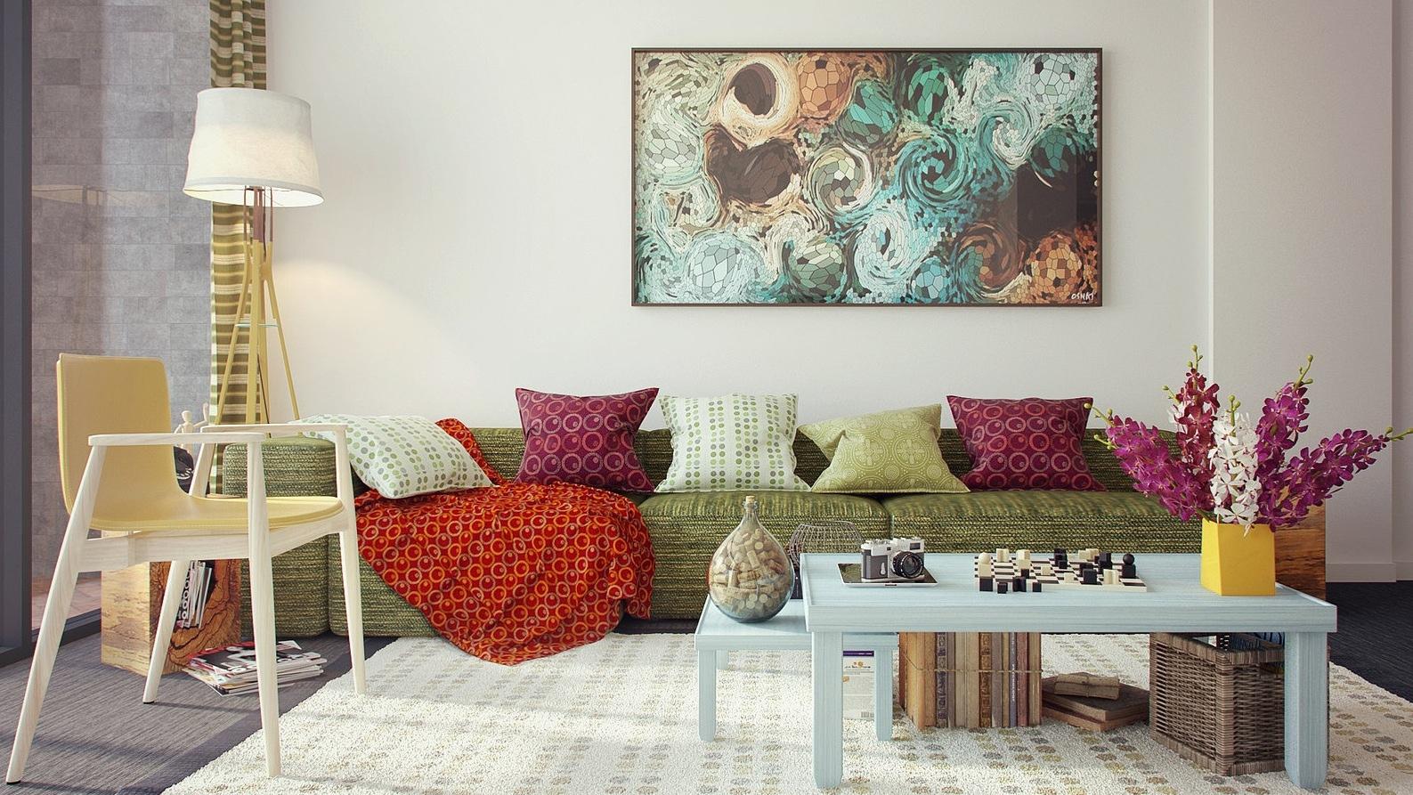 olive green sofa living room ideas karlstad 2 seat cover feminine interior design