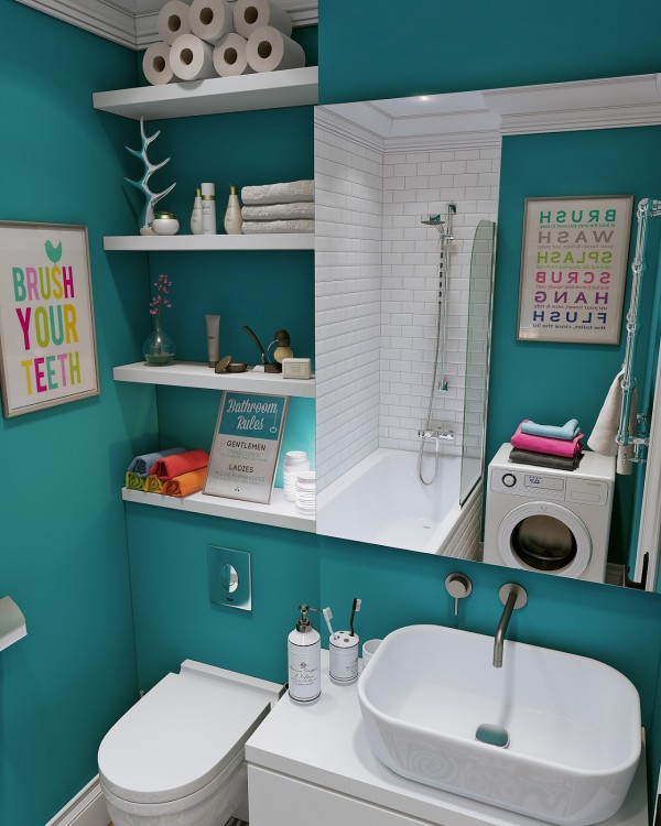 Built-in shelving is essential when it comes to living in a small space.
