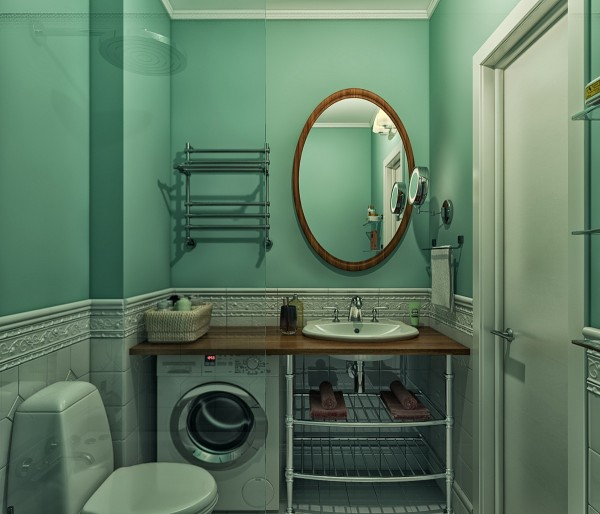 Finally, a small bathroom houses the necessities, including a small washing machine, while pretty teal walls and tiled wainscoting adds a classic touch.
