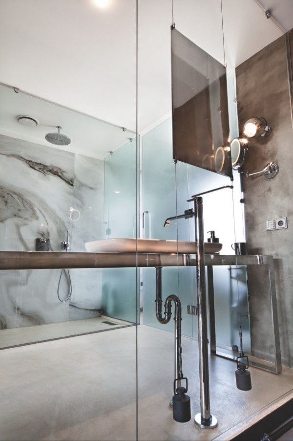 cement kitchen sink stainless steel farmhouse karakoy loft uses rich wood features and creative ...