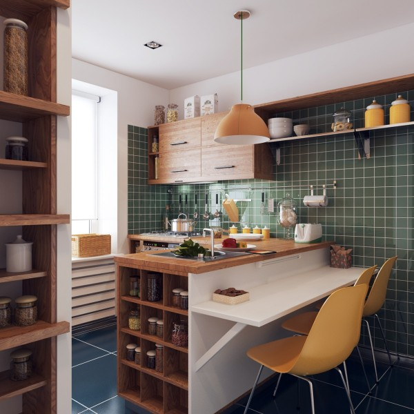 The green tiled walls are almost a throwback, calling to mind  50's diner or even a checked suit. Cute cubbyholes provide storage alongside the counter where you're welcome to pull up a chair.