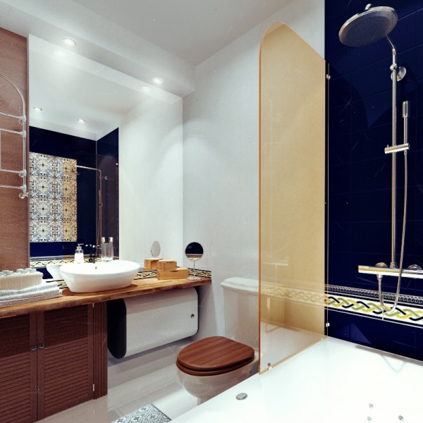 And a Spanish-inspired bathroom with dark wood and patterned tiles completes the tour of these enviable apartments.
