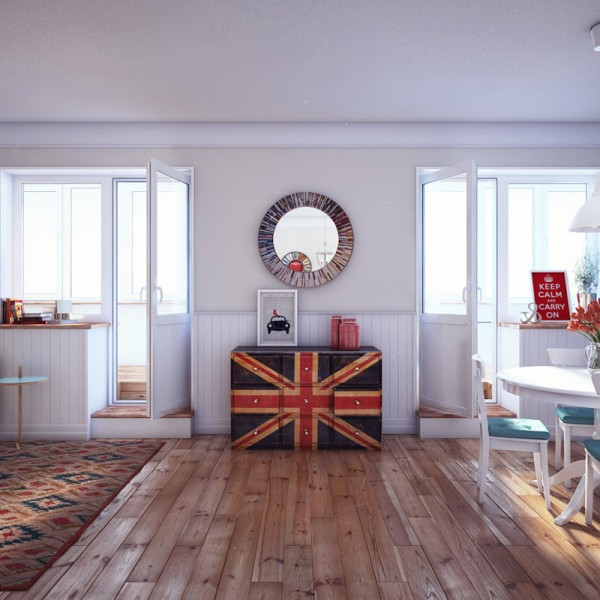 A custom dresser, painted with the Union Jack, provides a cool conversation piece and fills up an otherwise awkward space between two balcony doors.