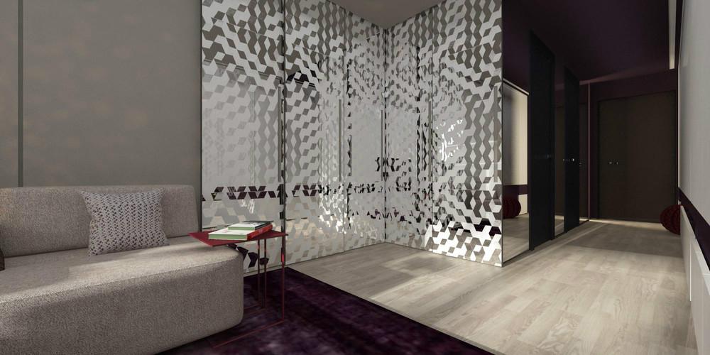 colorful kitchen accessories round islands mirrored-room-divider | interior design ideas.