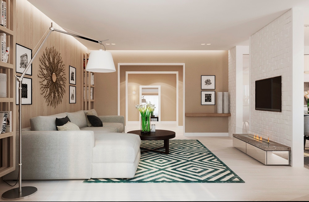 living room contemporary interiors decor brown couch warm modern interior design