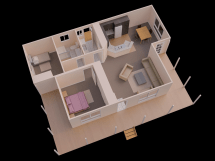 3D 2 Bedroom House Simple Plan