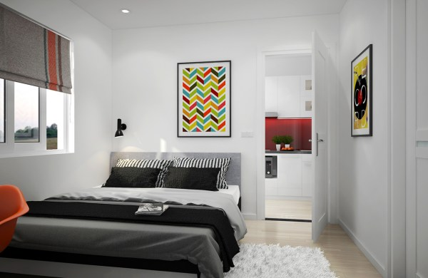 apartment bedroom design ideas Scandinavian Apartment With Adorable Art and Classic Colors