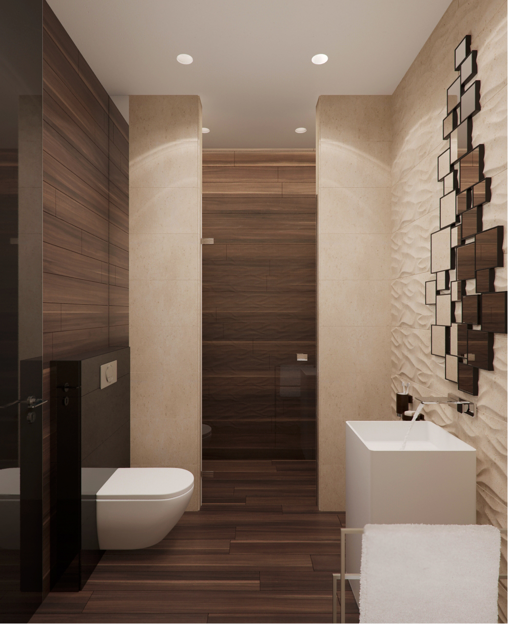 Wood Tile Bathroom Stone And Wood Home With Creative Fixtures