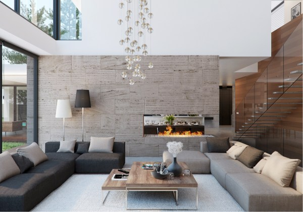 house interior decoration living room Stone and Wood Home with Creative Fixtures
